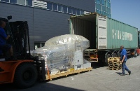 Seaworthy packed printing machine ready for shipment